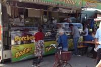 The porchetta  man at the Monterchi Sunday market